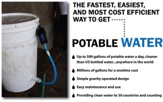 Water filter attached to 5 gal. pail.