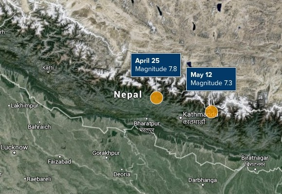 Nepal primary earthquake (April) and major aftershock (May).
